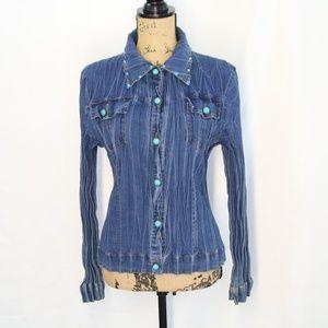 Western Denim Pleat Turquoise Button Blouse sz M